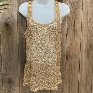 FOREVER 21 Sexy gold sequin tank top